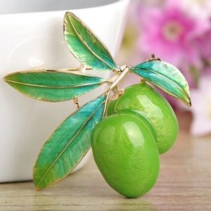 Jewelry - Green Fruit Enamel Brooch